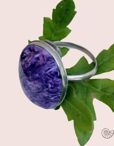 чароит серебро мельхиор кольцо