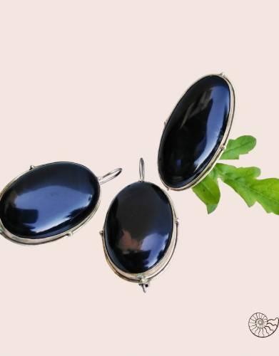 черный агат мельхиор серебро комплект серьги кольцо